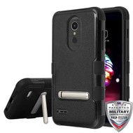 MyBat TUFF Hybrid Protector Cover (with Magnetic Metal Stand)[Military-Grade Certified] for Lg K10 (2018) - Natural Black / Black
