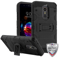 MyBat Storm Tank Hybrid Protector Cover [Military-Grade Certified] for Lg K10 (2018) - Black / Black