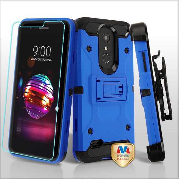 MyBat 3-in-1 Kinetic Hybrid Protector Cover Combo (with Black Holster)(Tempered Glass Screen Protector) for Lg K30 - Blue / Black