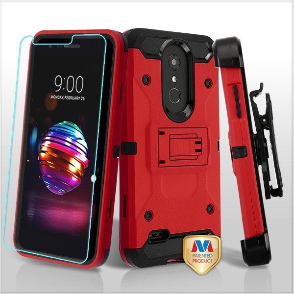 MyBat 3-in-1 Kinetic Hybrid Protector Cover Combo (with Black Holster)(Tempered Glass Screen Protector) for Lg K30 - Red / Black