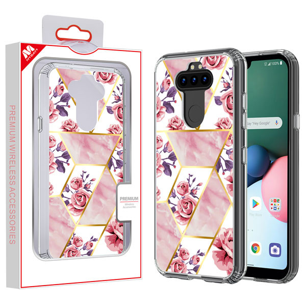 MyBat Fusion Protector Cover for Lg K31 (Aristo 5)/Fortune 3 - Electroplated Roses Marbling