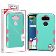 MyBat TUFF Hybrid Protector Cover [Military-Grade Certified] for Lg K31 (Aristo 5)/Fortune 3 - Rubberized Teal Green / Electric Pink