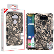 MyBat TUFF Hybrid Protector Cover [Military-Grade Certified] for Lg K31 (Aristo 5)/Fortune 3 - Phoenix Flower (2D Rose Gold) / Black