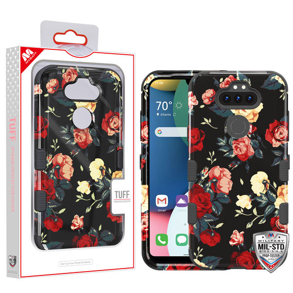 MyBat TUFF Hybrid Protector Cover [Military-Grade Certified] for Lg K31 (Aristo 5)/Fortune 3 - Red and White Roses / Black