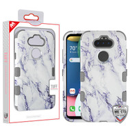 MyBat TUFF Hybrid Protector Cover [Military-Grade Certified] for Lg K31 (Aristo 5)/Fortune 3 - White Marbling / Iron Gray