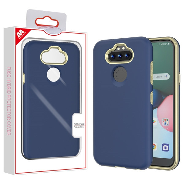 MyBat Fuse Hybrid Protector Cover for Lg K31 (Aristo 5)/Fortune 3 - Rubberized Ink Blue / Metallic Gold
