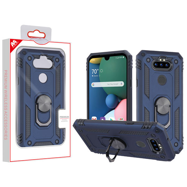 MyBat Anti-Drop Hybrid Protector Cover (with Ring Stand) for Lg K31 (Aristo 5)/Fortune 3 - Ink Blue / Black