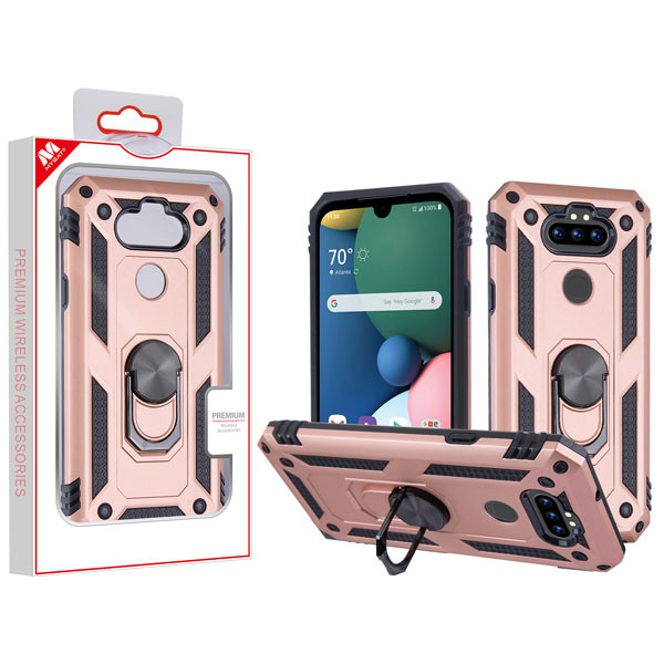 MyBat Anti-Drop Hybrid Protector Cover (with Ring Stand) for Lg K31 (Aristo 5)/Fortune 3 - Rose Gold / Black