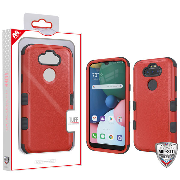 MyBat TUFF Hybrid Protector Cover [Military-Grade Certified] for Lg K31 (Aristo 5)/Fortune 3 - Natural Red / Black