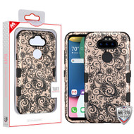 MyBat TUFF Hybrid Protector Cover [Military-Grade Certified] for Lg K31 (Aristo 5)/Fortune 3 - Black Four-Leaf Clover (2D Rose Gold) / Black