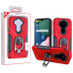 MyBat Hybrid Protector Cover (with Ring Holder Kickstand Bottle) for Lg Phoenix 5 - Red / Black