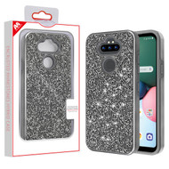 MyBat Encrusted Rhinestones Hybrid Case for Lg Phoenix 5 - Electroplated Gun Metal / Iron Gray