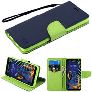 MyBat Liner MyJacket Wallet Crossgrain Series for Lg K40 - Dark Blue Pattern / Green