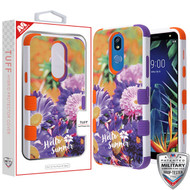 MyBat TUFF Hybrid Protector Cover [Military-Grade Certified] for Lg K40 - Chrysanthemum Field / Orange and Purple