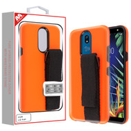 MyBat Fuse Hybrid Protector Cover (With Black Wristband Stand) for Lg K40 - Fluorescent Orange / Black