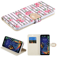 MyBat MyJacket Wallet Diamond Series for Lg K40 - Pink Fresh Roses