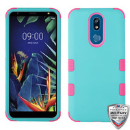 MyBat TUFF Hybrid Protector Cover [Military-Grade Certified] for Lg K40 - Rubberized Teal Green / Electric Pink