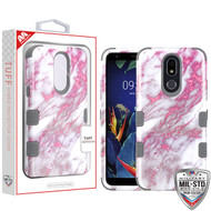 MyBat TUFF Hybrid Protector Cover [Military-Grade Certified] for Lg K40 - Pink Marbling / Iron Gray