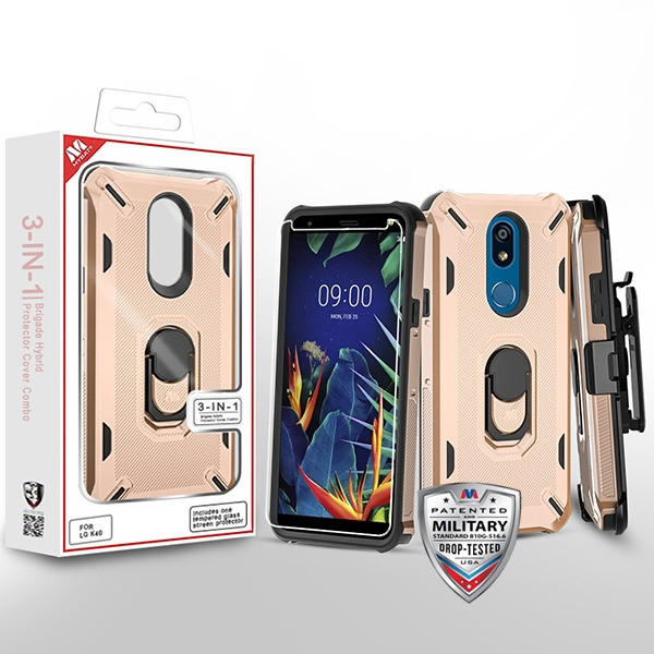 MyBat 3-in-1 Brigade Hybrid Protector Cover Combo (with Black Holster)(with Ring Stand)(Tempered Glass Screen Protector) for Lg K40 - Rose Gold / Black