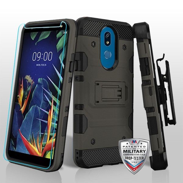 MyBat 3-in-1 Storm Tank Hybrid Protector Cover Combo (with Black Holster)(Tempered Glass Screen Protector)[Military-Grade Certified] for Lg K40 - Dark Grey / Black
