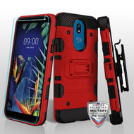MyBat 3-in-1 Storm Tank Hybrid Protector Cover Combo (with Black Holster)(Tempered Glass Screen Protector)[Military-Grade Certified] for Lg K40 - Red / Black