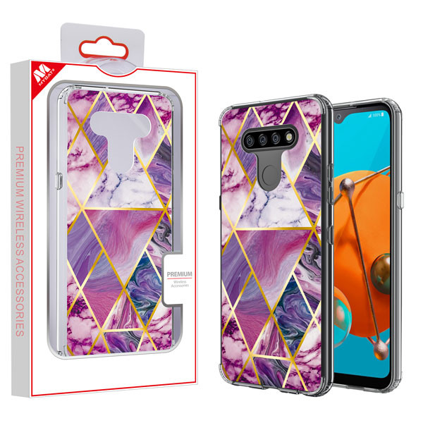 MyBat Fusion Protector Cover for Lg K51 - Electroplated Purple Marbling