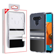 MyBat Fusion Protector Cover for Lg K51 - Transparent Black and Silver Stripes