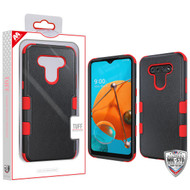 MyBat TUFF Hybrid Protector Cover [Military-Grade Certified] for Lg K51 - Natural Black / Red