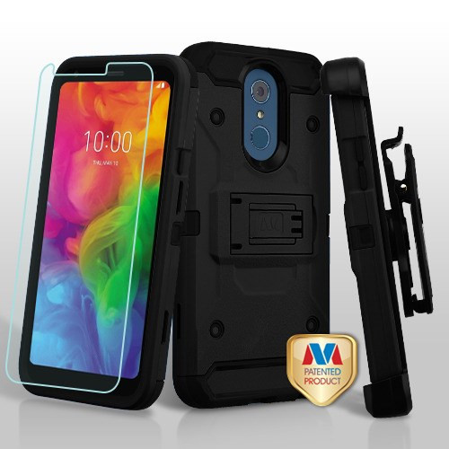 MyBat 3-in-1 Kinetic Hybrid Protector Cover Combo (with Black Holster)(Tempered Glass Screen Protector) for Lg Q7+ - Black / Black