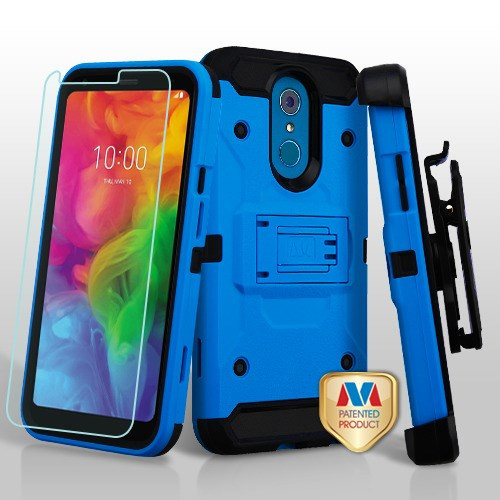 MyBat 3-in-1 Kinetic Hybrid Protector Cover Combo (with Black Holster)(Tempered Glass Screen Protector) for Lg Q7+ - Blue / Black