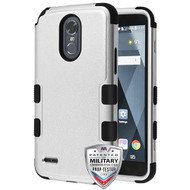 MyBat TUFF Hybrid Protector Cover [Military-Grade Certified] for Lg LS777 (Stylo 3) - Textured Silver / Black
