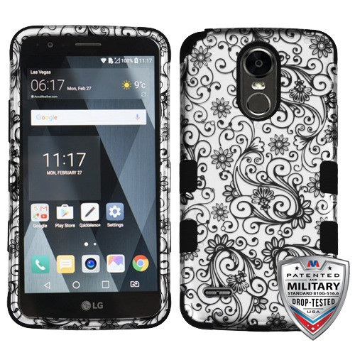 MyBat TUFF Hybrid Protector Cover [Military-Grade Certified] for Lg LS777 (Stylo 3) - Black Four-Leaf Clover (2D Silver) / Black