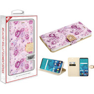 MyBat MyJacket Wallet Diamond Series for Lg Stylo 4 - Fresh Purple Flowers