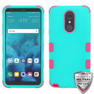 MyBat TUFF Hybrid Protector Cover [Military-Grade Certified] for Lg Stylo 4 - Rubberized Teal Green / Electric Pink