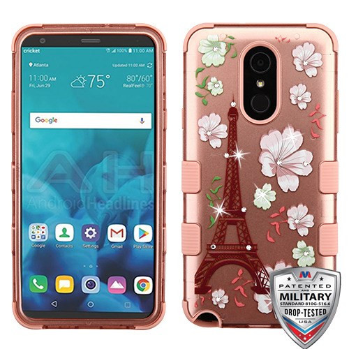 MyBat TUFF Hybrid Protector Cover (with Diamonds)[Military-Grade Certified] for Lg Stylo 4 - Eiffel Tower in the Season of Blooming (2D Rose Gold) / Rose Gold