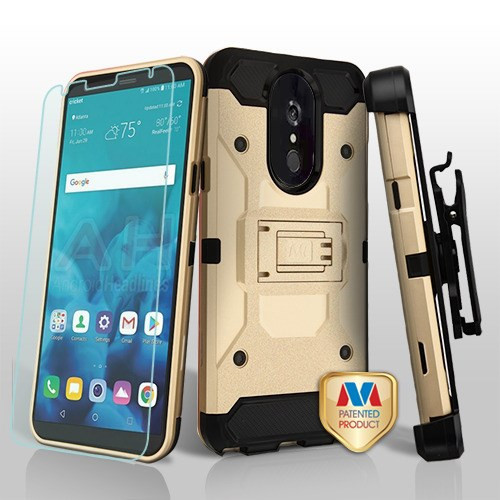 MyBat 3-in-1 Kinetic Hybrid Protector Cover Combo (with Black Holster)(Tempered Glass Screen Protector) for Lg Stylo 4 - Gold / Black