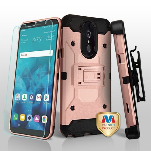 MyBat 3-in-1 Kinetic Hybrid Protector Cover Combo (with Black Holster)(Tempered Glass Screen Protector) for Lg Stylo 4 - Rose Gold / Black