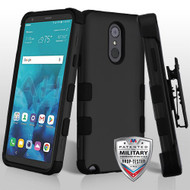 MyBat TUFF Hybrid Protector Case [Military-Grade Certified](with Black Horizontal Holster) for Lg Stylo 4 - Rubberized Black / Black