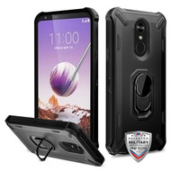 MyBat Brigade Hybrid Protector Cover (with Ring Stand) for Lg Stylo 5 - Black / Black