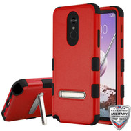 MyBat TUFF Hybrid Protector Cover (with Magnetic Metal Stand)[Military-Grade Certified] for Lg Stylo 5 - Natural Red / Black