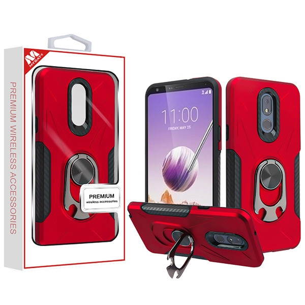 MyBat Hybrid Protector Cover (with Ring Holder Kickstand Bottle) for Lg Stylo 5 - Red / Black