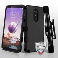MyBat TUFF Hybrid Protector Case [Military-Grade Certified](with Black Horizontal Holster) for Lg Stylo 5 - Rubberized Black / Black