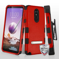 MyBat TUFF Hybrid Protector Case (with Magnetic Metal Stand)[Military-Grade Certified](with Black Horizontal Holster) for Lg Stylo 5 - Natural Red / Black