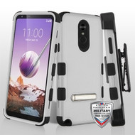 MyBat TUFF Hybrid Protector Case (with Magnetic Metal Stand)[Military-Grade Certified](with Black Horizontal Holster) for Lg Stylo 5 - Natural Gray / Black