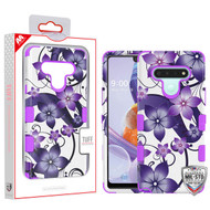 MyBat TUFF Hybrid Protector Cover [Military-Grade Certified] for Lg Stylo 6 - Purple Hibiscus Flower Romance / Electric Purple