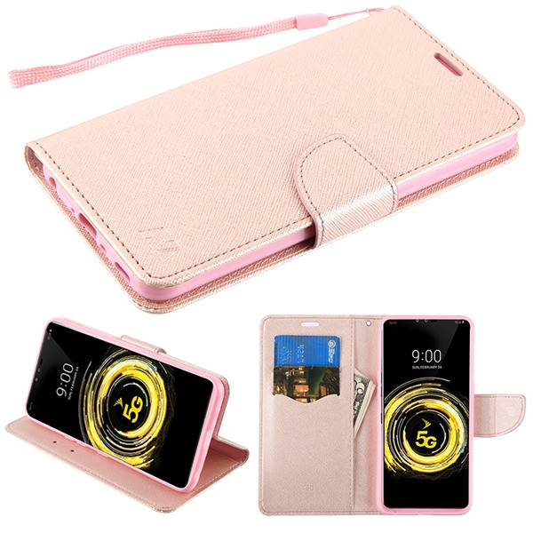 MyBat Liner MyJacket Wallet Crossgrain Series for Lg V50 ThinQ - Rose Gold Pattern / Rose Gold