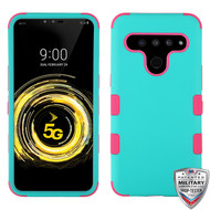 MyBat TUFF Hybrid Protector Cover [Military-Grade Certified] for Lg V50 ThinQ - Rubberized Teal Green / Electric Pink