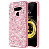 MyBat Encrusted Rhinestones Hybrid Case for Lg V50 ThinQ - Electroplated Pink / Pink