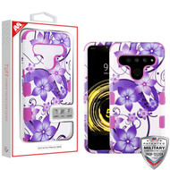 MyBat TUFF Hybrid Protector Cover [Military-Grade Certified] for Lg V50 ThinQ - Purple Hibiscus Flower Romance / Electric Purple