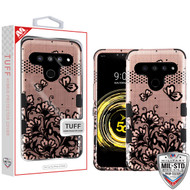 MyBat TUFF Hybrid Protector Cover [Military-Grade Certified] for Lg V50 ThinQ - Black Lace Flowers (2D Rose Gold) / Black